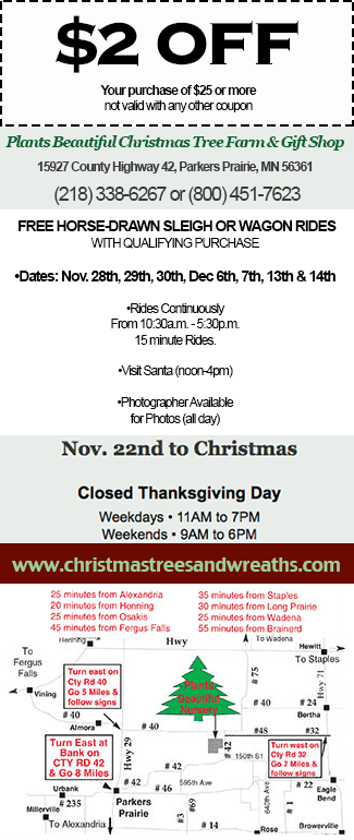 Grant christmas tree farm coupons