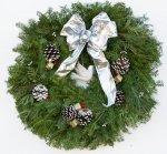 "Live 26"" Silvery Winter Fancy Designer Christmas Wreath"