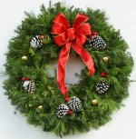 "Live 26"" Holiday Shiny Bright Christmas Fancy Designer Wreath"