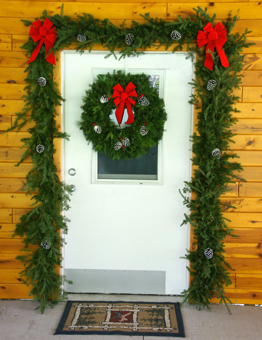 Garland and Wreath Door Decorations Set