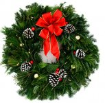 "Live 26"" Holiday Shiny Bright Fraser Christmas Fancy Designer Wreath"